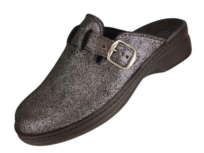 """Algemare Damen Clog Hausschuh aus Leder """"Glitter Leather"""" mit waschbarem Sani-pur Wechselfußbett Pantolette 5970_0606 Sandalette  – Bild 1"""