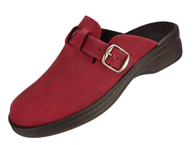"""Algemare Damen Clog Hausschuh aus Leder """"Red"""" mit waschbarem Sani-pur Wechselfußbett Pantolette 5970_5718 Sandalette  – Bild 1"""