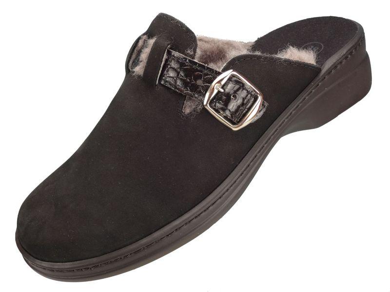 Algemare Damen Clog Hausschuh aus Nubuk und Lammfell mit waschbarem Sani-pur Wechselfußbett Pantolette 5972_004 Sandalette  – Bild 1
