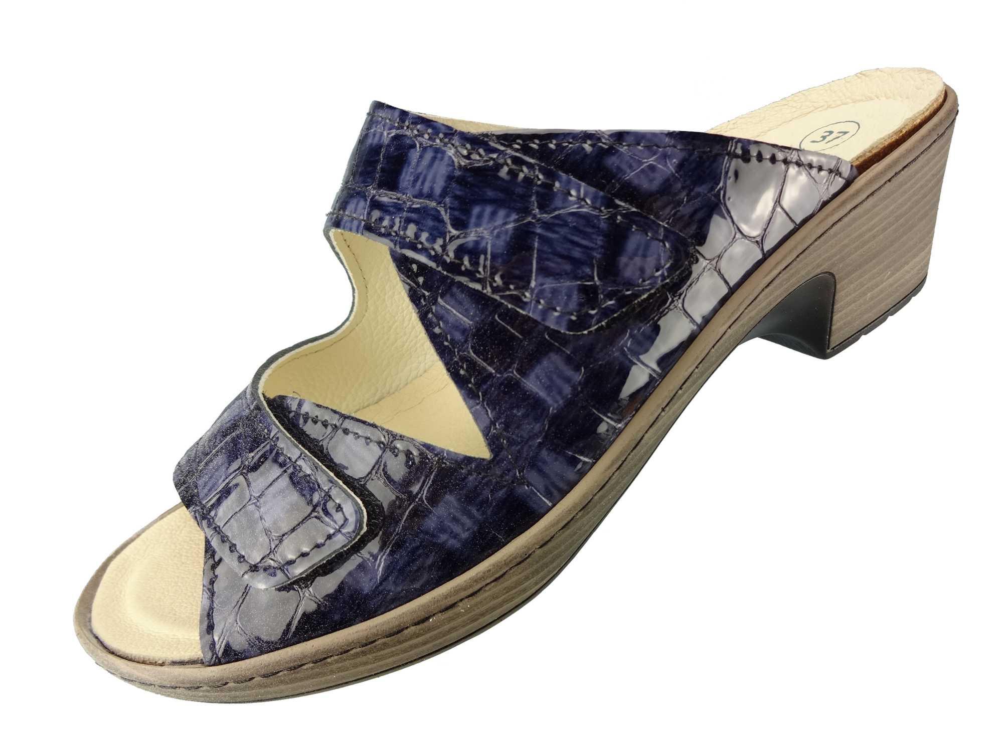 "Algemare Damen Leder Pantolette ""Atlantik Kroko"" Keilpantolette mit Algen-Kork Wechselfußbett Made in Germany 6118_8267"