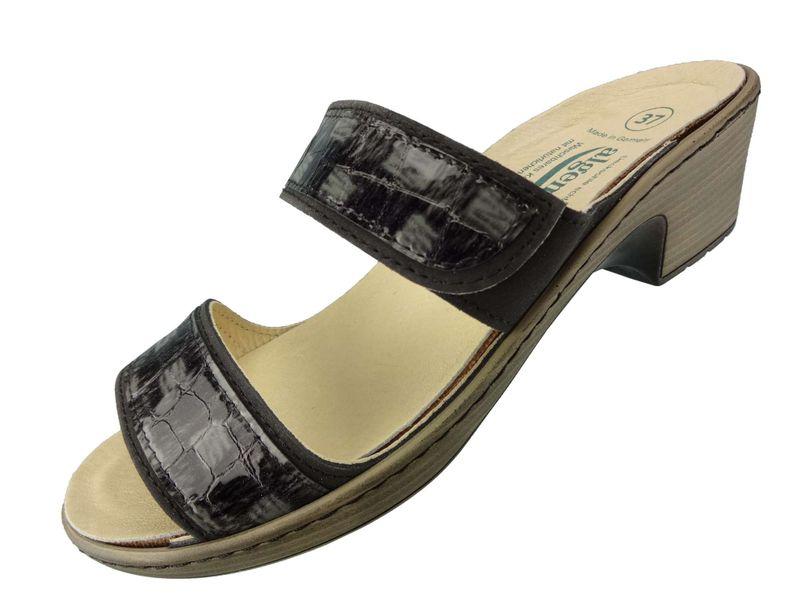 "Algemare Damen Leder Pantolette ""Blei Kroko"" mit Algen-Kork Wechselfußbett Made in Germany 6129_0427 – Bild 1"