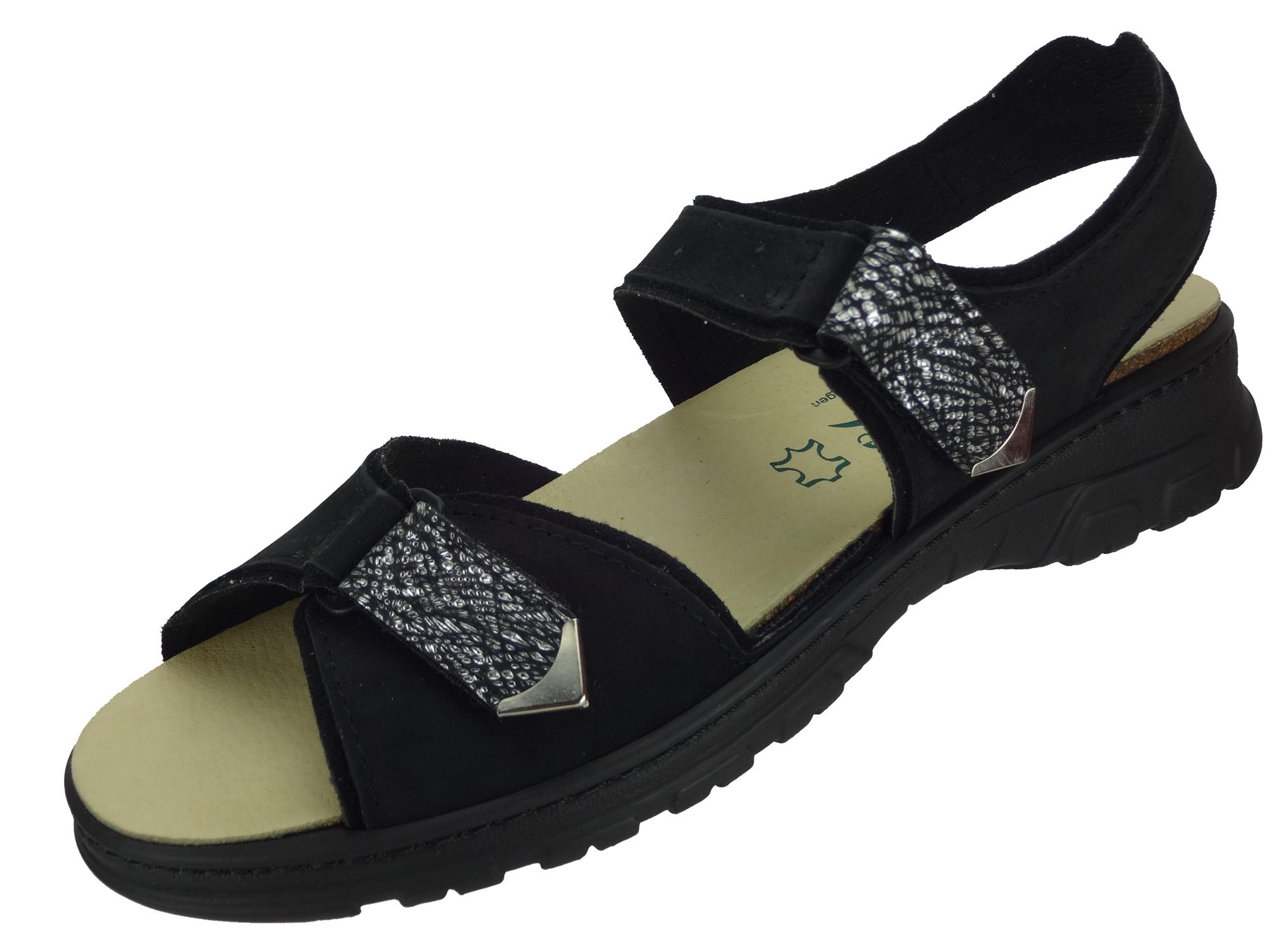 Algemare Damen Trekking Sandale Nubuk Leder waschbares Algen-Kork Fußbett 6478_0805 Sandalette Pantolette mit Wechselfußbett