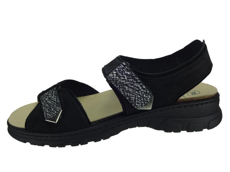 Algemare Damen Trekking Sandale Nubuk Leder waschbares Algen-Kork Fußbett 6478_0805 Sandalette Pantolette mit Wechselfußbett – Bild 2