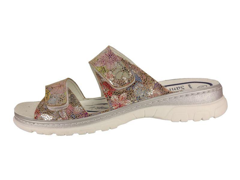 Algemare Pantolette Sandalette Leder Flower waschbares Sanipur Wechsel-Fußbett  6716_9658 Freizeitschuhe – Bild 2