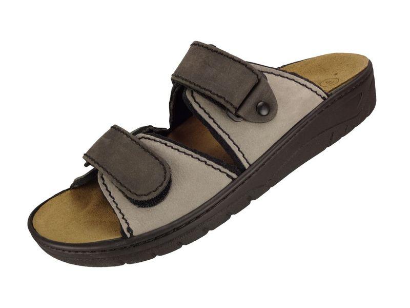 Algemare Herren Pantolette grau Nubuk Algen-Kork Wechselfußbett 7511_0326 Sandale Sandalette Gesundheitsschuhe – Bild 1