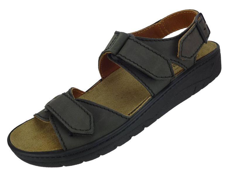 Algemare Herren Sandalette Teer Nubukleder Algen-Kork Wechselfußbett 7765_0341 Trekking Sandale – Bild 1