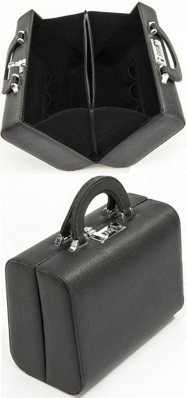 "AMBASSADOR ""City"" Kulturtasche Beauty Case Koffer klassisch Lederimitat sehr weich grob genarbt – Bild 1"