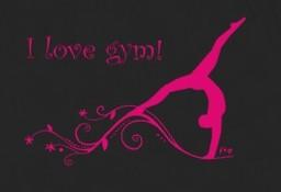 T-Shirt GR L, »I love gym mit Turnerin / Gymnastin« , schwarz – Bild 2