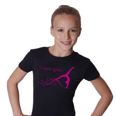 T-Shirt, GR L »I love gym« mit Turnen / Gymnastik (Druck pink)