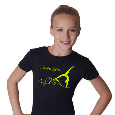 T-Shirt Turnen, GR M »I love gym« mit Turnerin / Gymnastin (Druck gelb)