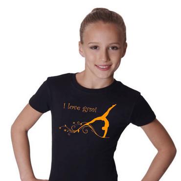 T-Shirt, GR L »I love gym« mit Turnen / Gymnastik (Druck orange)