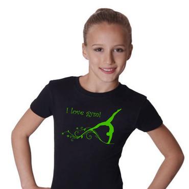 T-Shirt, GR S »I love gym« mit Turnen / Gymnastik (Druck grün)