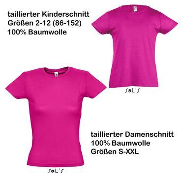 fuchsiafarbenes Baumwoll-T-Shirt Mädchen (2-12) und Damen (XS-3XL)