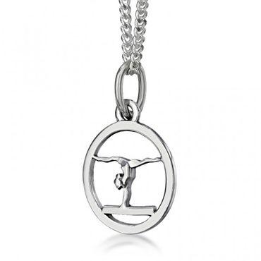 Silberanhänger »Turnerin auf Schwebebalken« an Silberkette (17mm/40cm) – Bild 1