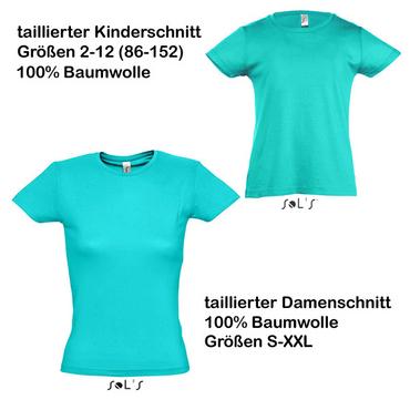 atollblaues Baumwoll-T-Shirt Mädchen (2-12) und Damen (XS-3XL)