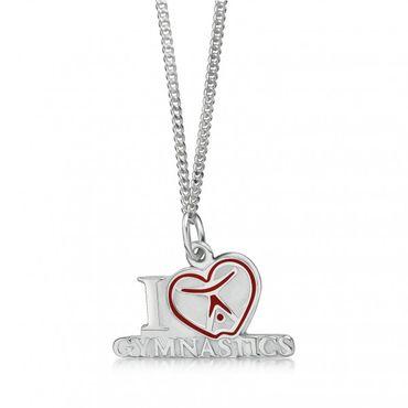 Kette mit Anhänger 'I love Gymnastics mit Herz', Silber  – Bild 1