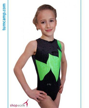 Gymnastikanzug GR 116 / Turnanzug aus Samt Modell »Marie« (schwarz/grün) – Bild 1