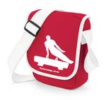 """praktische Schultertasche """"Pommelhorse"""" (Seitpferd, Pauschenpferd) für Turner (rot/weiß)"""