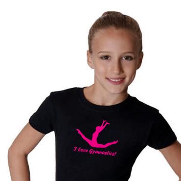 T-Shirt »I love gymnastics« (Spagatsprung) PINK, Turnen / Gymnastik