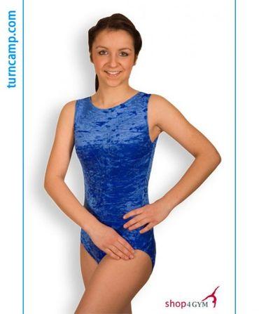 Turnanzug / Gymnastikanzug ovaler Ausschnitt, Armlängen wählbar, »Basic«, royal, Knittersamt – Bild 2