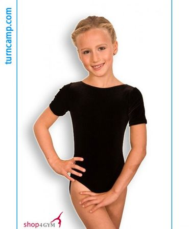 Turnanzug / Gymnastikanzug ovaler Ausschnitt, Armlänge wählbar, »Basic« , schwarzer Samt – Bild 1