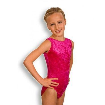 Turnanzug / Gymnastikanzug ovaler Ausschnitt, Armlänge wählbar, »Basic« Knittersamt (pink) – Bild 1