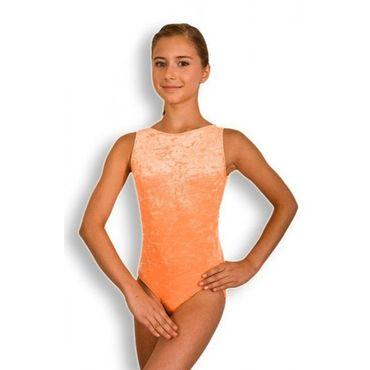Turnanzug / Gymnastikanzug ovaler Ausschnitt, Armlänge wählbar, »Basic« Knittersamt (orange) – Bild 1