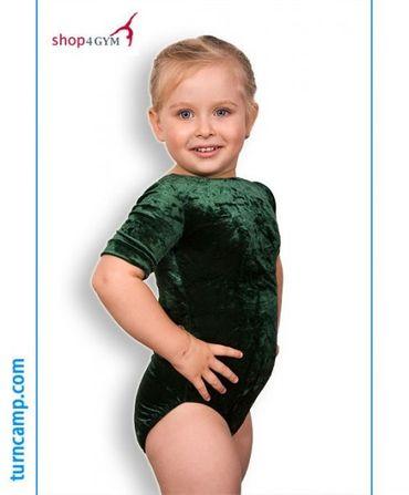 Turnanzug / Gymnastikanzug  »Basic« Knittersamt (dunkelgrün), Armlänge wählbar – Bild 1
