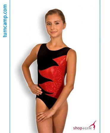 Turnanzug / Gymnastikanzug Modell »Charlotte« Samt (schwarz/rot)