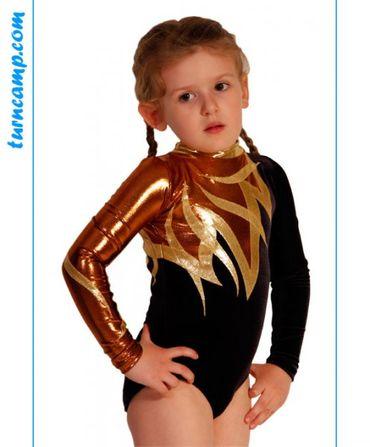 Turnanzug / Gymnastikanzug  »Natalia« (schwarz/bronze/gold/Strass) – Bild 1