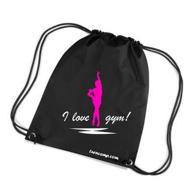 Turnbeutel »I love Gym!« Gymnastin mit Keulen, schwarz/pink