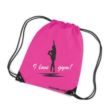 Turnbeutel »I love Gym!« Gymnastin mit Keulen, pink/schwarz