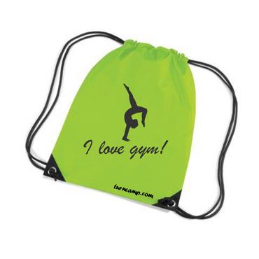 Turnbeutel »I love Gym!« Gymnastin im Handstand, grün/schwarz