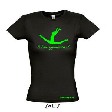 T-Shirt »I love gymnastics« (Spagatsprung) Neon Grün, Turnen / Gymnastik – Bild 1