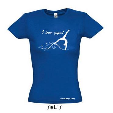 royalblaues T-Shirt, »I love gym« mit Turnen / Gymnastik (Druck weiss) – Bild 1