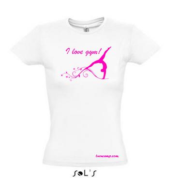 weisses T-Shirt, »I love gym« mit pinkfarbenem Druck, Motiv Turnen / Gymnastik – Bild 1