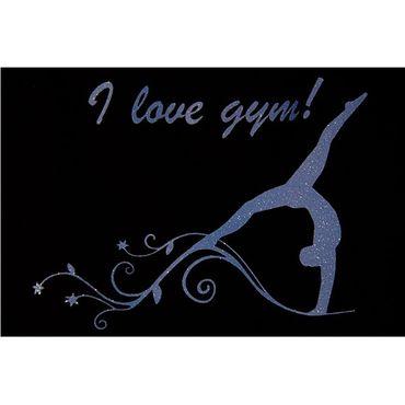 T-Shirt, GR 6 Glitter/Hellblau »I love gym« mit Turnen / Gymnastik  – Bild 2
