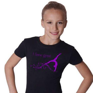 T-Shirt, GR L »I love gym« mit Turnen / Gymnastik (Druck violett)