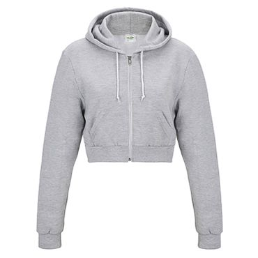 Cropped Zoodie in grau (heather grey) – Bild 1