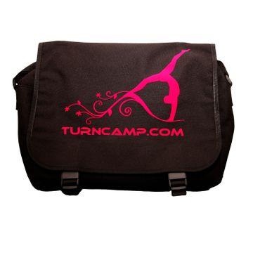 Schultertasche mit Turnerinen / Gymnastinnen (schwarz/pink)