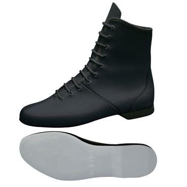 schwarze Garde-Stiefel / Mariechen-Stiefel  Ballenpartie Leder / Gummiabsatz überzogen