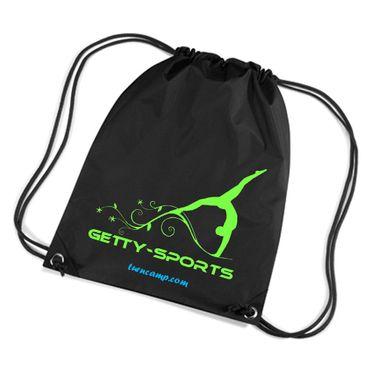 leichter Rucksack schwarz mit Kordelzug und Turnerin Motiv neon grün