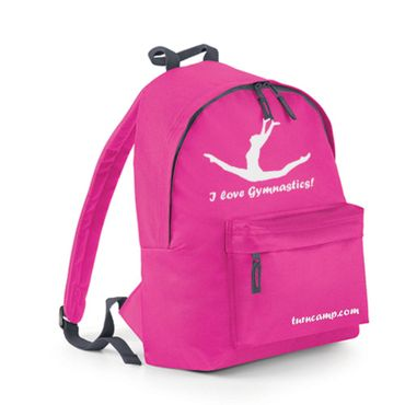 Rucksack / Fashion Backpack mit Turnmotiv Spagatsprung, fuxia