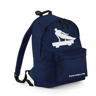Rucksack / Fashion Backpack mit Turnmotiv Pauschenpferd, navy