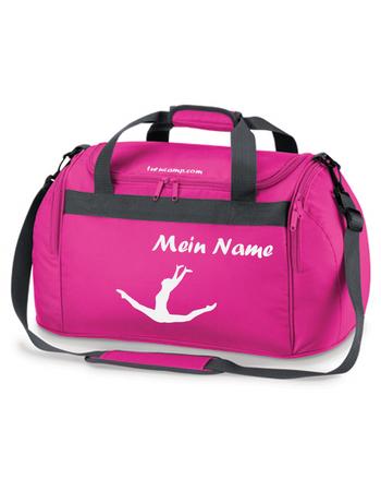 fuchsia Sporttasche mit Turnmotiv 'Spagatsprung' und Wunschname – Bild 1