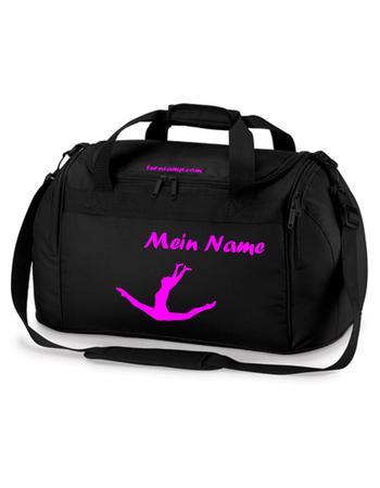 schwarze Sporttasche mit pink Turnmotiv und Wunschname – Bild 1