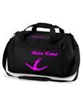 schwarze Sporttasche mit pink Turnmotiv und Wunschname 001