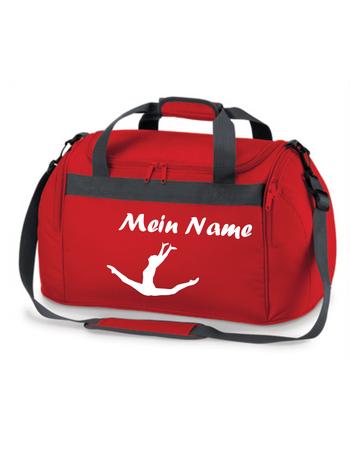 rote Sporttasche mit Turnmotiv 'Spagatsprung' und Wunschname – Bild 1