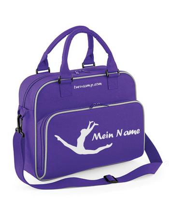 violette  Sporttasche mit Motiv 'Spagatsprung' und Wunschname – Bild 2