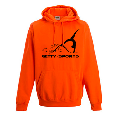 Hoodie in Neon Orange mit Turnerin  – Bild 1